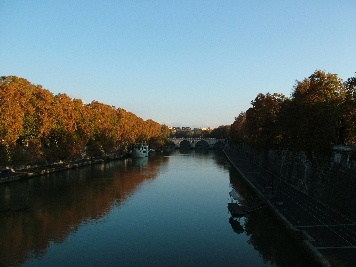 The Tiber in the fall, with Rome's Ponte Sisto bridge in the distance